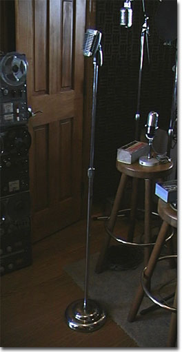 picture of Shure 51 microphone on Atlas chrome floor stand