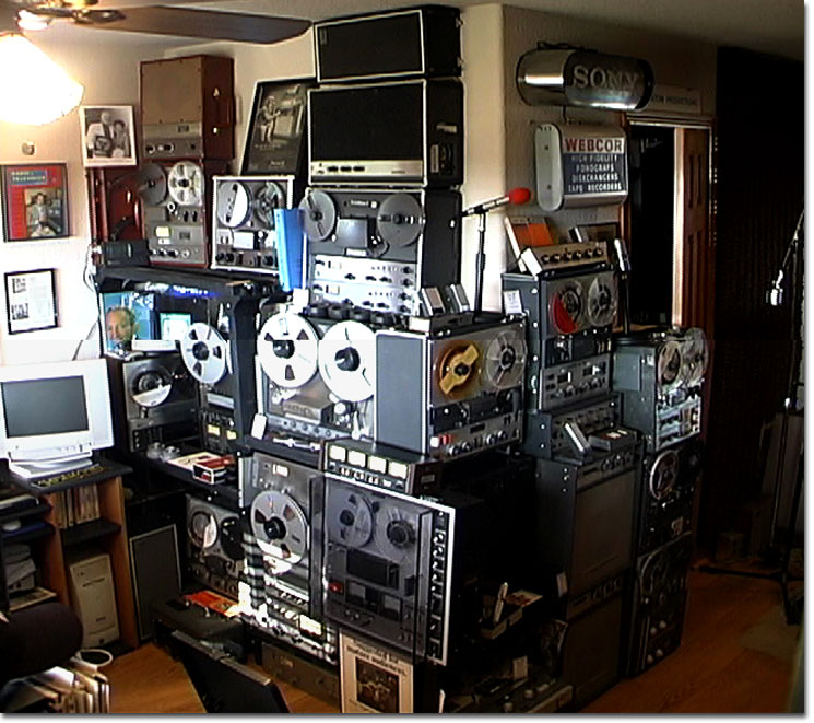 October 2004 picture of one of  Phantom's displays of vintage Ampex and Sony reel to reel tape recorders