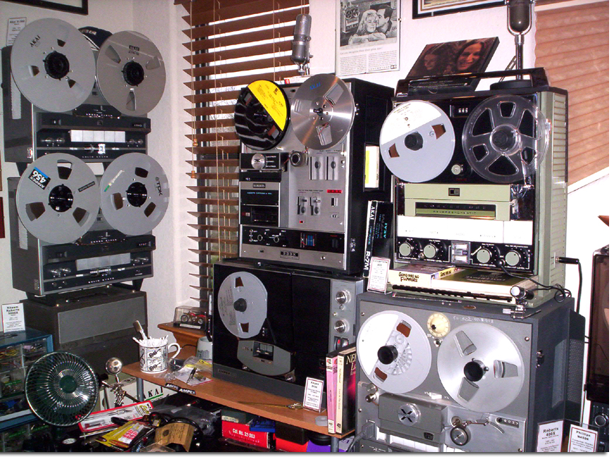 picture of SE wall of Phantom's vintage reel tape recording museum