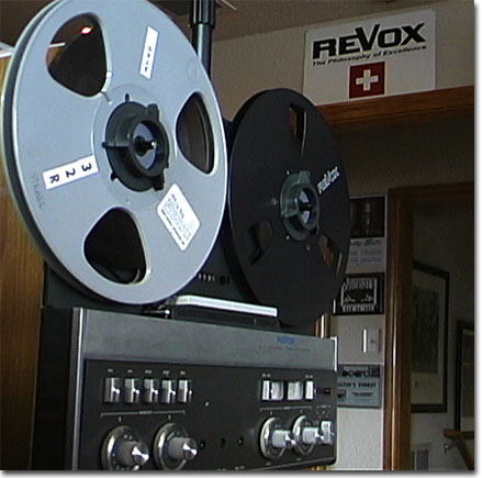 picture of newer ReVox A77 with ReVox store sign in background
