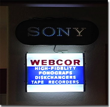 picture of lighted signs for Sony and Webcor