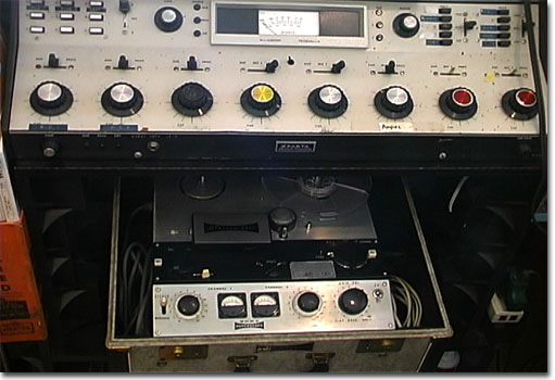 picture of Sparta radio console and Sony 555 reel tape recorder